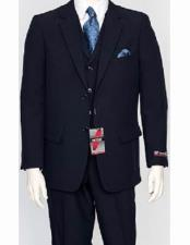 ID#VJ15067 Poly Poplin Single Breasted 3 Piece Regular Fit Notch Lapel Vested Dress Suit Navy