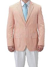 Striped Seersucker Orange Blazer
