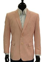 Button Orange Seersucker Blazer
