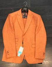 ID#DB18469  Two Buttons Orange Linen For Beach Wedding Outfit ~ Cotton Suit Ticket Pocket