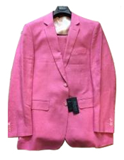 Mens Hot Pink Vested Suit