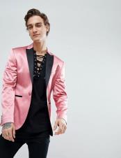 Satin Pink Skinny Tuxedo