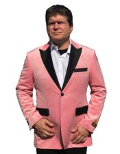 ID#DB20679  2 Buttons Baby Pink Black Velvet ~ Velour Best Cheap Blazer For Affordable Cheap Priced Unique Fancy For Men Available Big Sizes on sale Men Jacket Affordable Sport Coats Sale