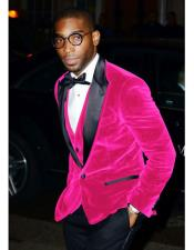 ID#DB20762  Hot Pink Velvet Tuxedo Best Cheap Blazer For Affordable Cheap Priced Unique Fancy For Men Available Big Sizes on sale Men Affordable Sport Coats Sale