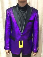 Alberto Paisley Patterned Tuxedo Twon Toned Nardoni Sequin Glitter Black and Purple Two toned Fancy Party Blazer Suit Jacket For Men