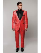 Slim Tux Red/Black Lapel