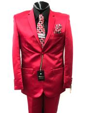 ID#DB23830  Notch Lapel 2 Button Red Suit