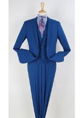 ID#VJ15058 100% Wool 3 ~ Three Piece Notch Lapel  Executive Suit Narrow Leg Pants Royal Light Blue Perfect for wedding