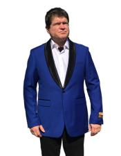 Royal Blue 1 Button Satin Shawl Lapel Suit - Blue Tuxedo Wedding - Royal Blue Tuxedo Jacket