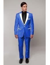 ID#DB22308 White Lapel  Slim Tux Royal Blue Suit