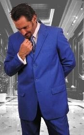 ID#MUAC4 Festive Royal Blue  Dress Lightweight Material Summer Polyester Suits Men for Men