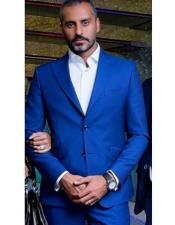 ID#DB22171  Dark Royal Blue ~ Bright Blue Indigo ~ Cobalt Blue 2 Button 3 Pieces Vested Suits