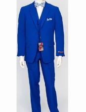 ID#VJ15075 Poly Poplin  Notch Lapel 3 Piece Dress Suit Wth Pleated Pant Royal