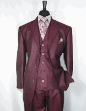 ID#DB23537 Sharkskin Wedding Burgundy Prom  Notch Lapel 3 Button 3 ~ Three Piece Cheap Discounted Suit