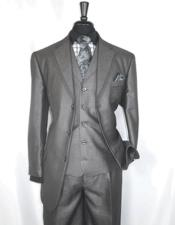 ID#DB23538  Notch Lapel 3 Button Sharkskin Grey 3 ~ Three Piece Cheap Discounted Suit