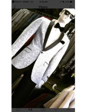 ID#DB17816  Silver Light Grey ~ Black Patter Shawl Lapel Dinner Lapel Slim Fit Graduation Homecoming Outfits Best Cheap Blazer For Affordable Cheap Priced Unique Fancy For Men Available Big Sizes on sale Men Affordable Sport Coats Sale