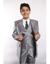 Silver Suit Vested w/Shirt