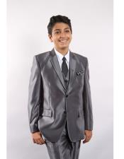ID#DB19234  Silver Toddler Boy 3 ~ Three Piece Suits for Weddings Vested w/ White Shirt, Tie & Hanky Stylish Sheen