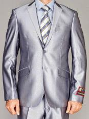 Fully Lined  Double Vent Silver 2 Button Suit