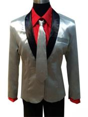 Shawl Lapel Silver Suit