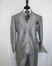 3 Button Silver Grey