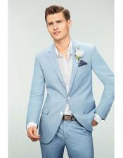 ID#KO19480 Single Breasted Notch Lapel Sky Blue Powder Blue ~ Ocean 2 Button Slim Fit Suit