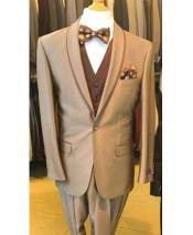 ID#DB24428 Tan  1 Button Notch Lapel Blazer