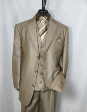 ID#DB23539 Tan Wedding / Prom Notch Lapel  3 Button Sharkskin 3 ~ Three Piece Cheap Discounted Suit