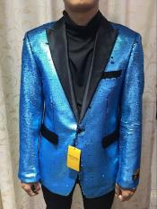 Alberto Paisley Patterned Two Toned Nardoni Sequin Glitter Turquoise Tuxedo
