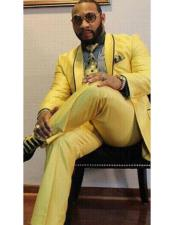 ID#DB20010 Yellow  Shawl Lapel Besom Pocket Blazer