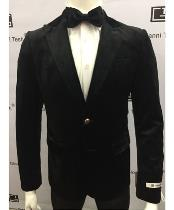 ID#TM14773 Black Slim Fit Best Cheap Blazer For Men Velvet Jacket Peak Lapel Single Button Affordable Sport Coats Sale