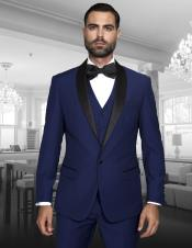 ID#NM859 Teal Bright Blue Indigo 3 ~ Three Piece Shawl Collar Single Button Vested Black Lapel Two Toned Blue Prom Tuxedo