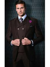 ID#SM1228 Tiglio Brand 3 ~ Three Piece Suit Vested Single Buttons Suit Wide Leg Pants Big Peak Collared Wool Suit