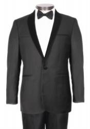 ID#PN-I67 Single Buttons Dark color black Suede Tuxedo With Stylish Velvet Shawl Collared - Slim Fit