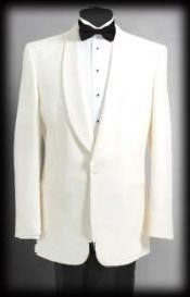 Single Buttons Shawl Collared Dinner Jackets - Ivory (Cream - Ivory - Off White) Tropical Wo