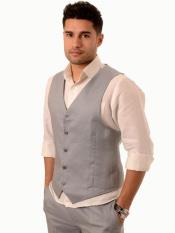 Gray 6 Button Linen