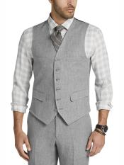 ID#DB24004 Gray  6 Button Fully Lined Linen Vest