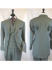 ID#VJ17121 6 Paired Buttons 3 ~ Three Piece Wide Notch Lapel Matching Vested Suit Grey