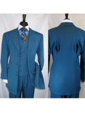 ID#VJ17123 Turquoise 6 Paired Buttons Notch Lapel Wide Matching Vested Suit