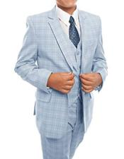 ID#DB21254 Sky Blue 3-Piece Check Prom ~ Wedding Groomsmen Tuxedo Suit Set With Matching Shirt & Tie