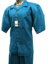ID#KO17781 Short Sleeve 2 Piece Solid Linen For Beach Wedding outfit Walking Suit Sky Blue