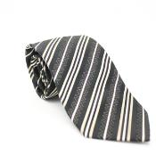 ID#KA6078 Slim Classic Coco Chocolate brown Striped Neck Groomsmen Ties with Matching Handkerchief - Tie Combo