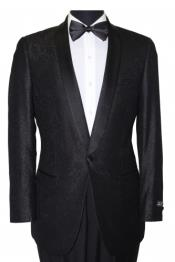 ID#BC-78 Slim Fit Sport Coat - Fancy Pattern Satin Trim Dark color black Tuxedo / Graduation Homecoming Outfits