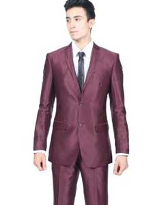 ID#PN 0G Slim Fit Shiny Wedding Burgundy Prom ~ Maroon Wedding Prom ~ Wine Color Sharkskin Suit