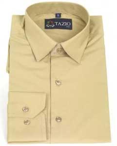 ID#KA9931 Dress Cheap Fashion Clearance Shirt Sale Online For Men Slim Fit -Tan