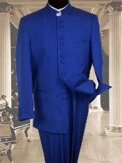 ID#PS2998 Basic Solid Plain Color Royal Light Blue Perfect for wedding Online Indian Wedding Outfits ~ Mandarin ~ Nehru Collar Jacket Collarless Style 2PC Suit