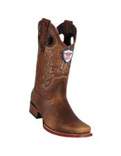 ID#DB18786 Handmade Brown Wild West Genuine Rage Cowboy Leather Square Toe Dress Cowboy Boot Cheap Priced For Sale Online