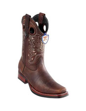 ID#DB18790 Handmade Brown Wild West Genuine Rage Cowboy Leather Square Toe Dress Cowboy Boot Cheap Priced For Sale Online