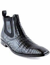 ID#VJ15502 Leather & Rubber Sole Caiman Formal Shoes For Men Belly Skin Square Toe Short Black Boots