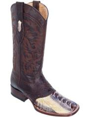 ID#KO17314  Natural Los Altos Ostrich Leg W/ Saddle Vamp Wide Square Toe Boots